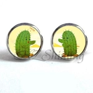 Jewelry - NEW Silver Green Round Cactus Cute Stud Earrings